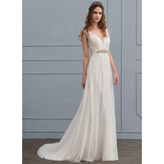 A-Line/Princess V-neck Court Train Chiffon Wedding Dress With Beading Sequins (002118435)