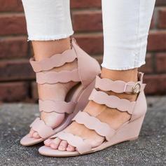 Frauen Veloursleder Keil Absatz Sandalen Schuhe
