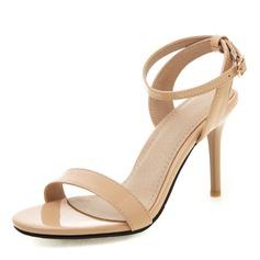 Femmes Cuir verni PU Talon stiletto Sandales Escarpins À bout ouvert Escarpins avec Boucle chaussures