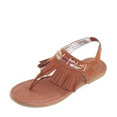 Girl's Suede Flat Heel Peep Toe Flats With Tassel