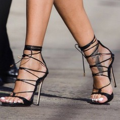 Donna PU Tacco a spillo Sandalo Stiletto Punta aperta con Allacciato scarpe