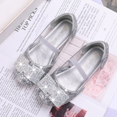 Girl's Round Toe Closed Toe Leatherette Sparkling Glitter Flat Heel Flats Flower Girl Shoes With Bowknot Velcro