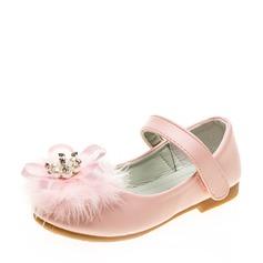 Pigens Lukket Tå Leatherette Flad Hæl Fladsko Flower Girl Shoes med Fjer Velcro Blomst (207121301)