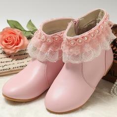 Fille de Bout fermé Bottes mi-mollets similicuir talon plat Chaussures plates Bottes avec Perle d'imitation Une fleur