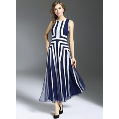 A-Line/Princess Scoop Neck Tea-Length Polyester Cocktail Dress (016119439)