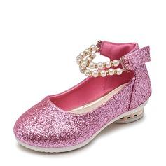 A menina de Glitter espumante Heel plana Toe rodada Sem salto com Pérola Imitação Espumante Glitter Velcro