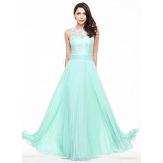 Vestidos princesa/ Formato A Decote redondo Longos De chiffon Renda Vestido de festa com Plissada