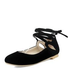Vrouwen Suede Flat Heel Flats Closed Toe met Vastrijgen schoenen
