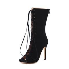 Kvinnor Mocka Stilettklack Pumps Stövlar Peep Toe Halva Vaden Stövlar med Bandage skor