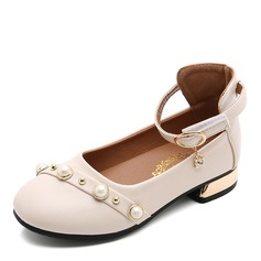 Girl's Round Toe Closed Toe Leatherette Low Heel Flats Flower Girl Shoes With Pearl