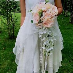 Cascade Silk Flower Bridal Bouquets (set of 2) - Boutonniere/Bridal Bouquets