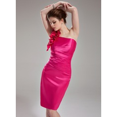 Sheath/Column One-Shoulder Knee-Length Charmeuse Homecoming Dress With Ruffle Flower(s)