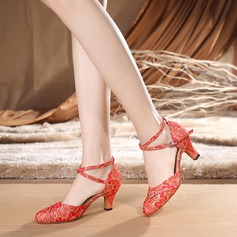 Femmes Dentelle Talons Latin Salle de bal avec Lanière de cheville Chaussures de danse