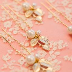 Elegant Alloy/Imitation Pearls Hairpins (Set of 6)