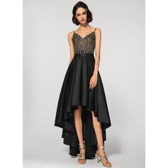 A-Line V-neck Asymmetrical Satin Lace Evening Dress