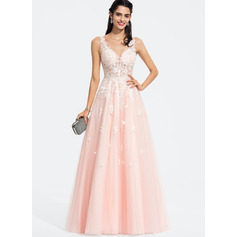 A-Line V-neck Floor-Length Tulle Prom Dresses With Beading Sequins (018187209)