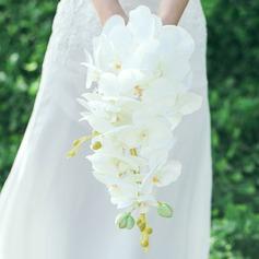 Puro Cascata Seda artificiais Buquês de noiva