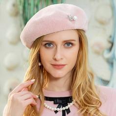 Damer' Elegant polyester med Strass/Pärla Basker Hat