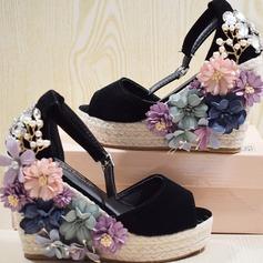 Vrouwen Suede Wedge Heel Sandalen Pumps Plateau Wedges Peep Toe met Strass Kristal Imitatie Parel Bloem schoenen