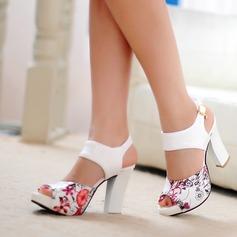 De mujer Cuero Tacón ancho Sandalias Salón Encaje con Hebilla Otros zapatos