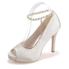 Women's Satin Stiletto Heel Peep Toe Platform Sandals With Imitation Pearl