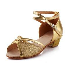 De mujer Niños Cuero Tacones Sandalias Salón Danza latina con Tira de tobillo Zapatos de danza