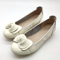 Frauen Echtleder Flascher Absatz Flache Schuhe أحذية