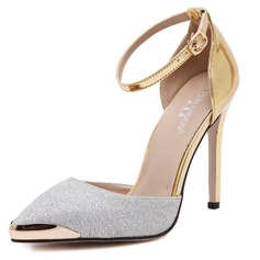 Women's Leatherette Stiletto Heel Closed Toe Pumps Sandals With Buckle Sparkling Glitter