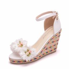 Vrouwen PU Wedge Heel Sandalen Wedges met Gesp schoenen