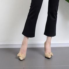 Kvinner Glitrende Glitter Stor Hæl Pumps Lukket Tå med Imitert Perle Glitrende Glitter Spenne sko