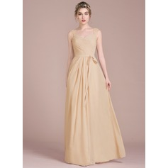 A-Line Sweetheart Floor-Length Chiffon Prom Dresses With Ruffle Lace Beading Sequins Bow(s)
