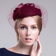 Damen Schöne Wollen mit Tüll Baskenmütze Hut