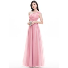 A-Line/Princess One-Shoulder Floor-Length Tulle Prom Dress With Lace Beading Sequins