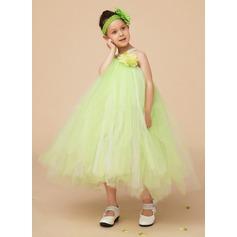 Vestidos princesa/ Formato A Coquetel Vestidos de Menina das Flores - Tule/Charmeuse Sem magas Decote V com fecho de correr/Curvado