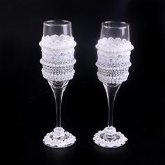 Elegant Skåle Glass Sett med Imitert Perle (Sett Av 2)