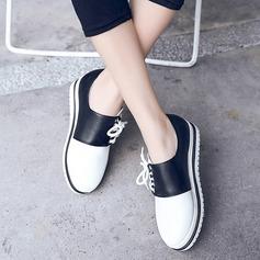 Frauen Flascher Absatz Flache Schuhe mit Zweiteiliger Stoff Schuhe