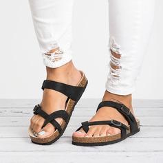 Frauen PU Flascher Absatz Sandalen Flache Schuhe Flip Flops mit Schnalle Schuhe