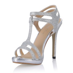 Kvinnor Glittrande Glitter Stilettklack Sandaler Pumps med Spänne skor