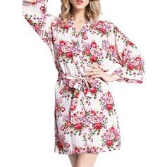 Brud Brudtärna Blomma Tjej Bomull med Kort Blomsterrockar Tjejrockar Kimono kläder