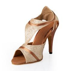 Mulheres Espumante Glitter Saltos Latino com Fivela Sapatos de dança