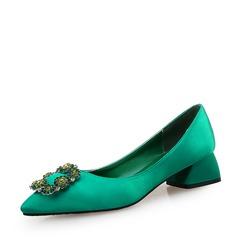 Женщины Шелковые Устойчивый каблук На каблуках Закрытый мыс с хрусталь обувь