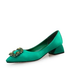 Mulheres Seda Salto robusto Bombas Fechados com Cristal sapatos