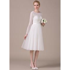 A-linjeformat Rund-urringning Knälång Tyll Spetsar Bröllopsklänning med Rosett/-er