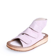 Femmes Vrai cuir Talon plat Sandales À bout ouvert Escarpins avec Velcro chaussures