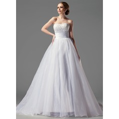 Ball-Gown Sweetheart Court Train Satin Organza Wedding Dress With Ruffle Lace