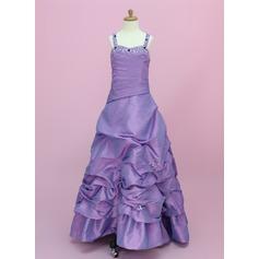 A-Linie/Princess-Linie Bodenlang Blumenmädchenkleid - Taft Ärmellos Schatz mit Rüschen/Perlstickerei/Suchen Up Skirt