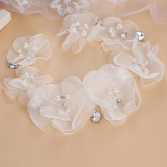 Damen Exquisiten Faux-Perlen/Seide Blumen Blumen und Federn