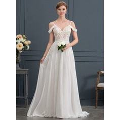 A-Line/Princess Sweetheart Sweep Train Chiffon Wedding Dress With Beading Sequins
