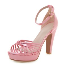 Vrouwen Kunstleer Chunky Heel Sandalen Pumps Plateau Peep Toe met Hol-out schoenen