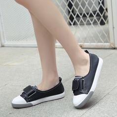 Frauen PU Flascher Absatz Flache Schuhe mit Klettverschluss Schuhe